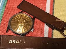 Vintage Gruen Wristwatch, Watch W. Original Gruen Band genuine lizard band 440