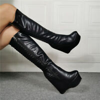 Womens Gothic Round Toe Wedge Platform Heels Knee High Boots Clubwear Customize