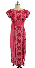 1950s Nani Hawaii of Waikiki Hawaiian Wiggle Dress Pink Hibiscus Print sz XS