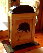 NEW HORSE HEAD WOOD KITCHEN TRASH CAN BIN 30 GAL CABIN WESTERN COWBOY DECOR