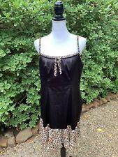 Cacique Lane Bryant Women's Chemise short Nightgown 14/16 Leopard Print Black