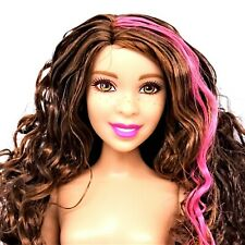 Barbie Doll Curvy Curly Brunette Pink Highlights Freckles Nude New