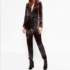 Zara,Velvet Paisley 2 piece Trouser suit,Hippy boho ,Xmas,NYE Party,Festival.