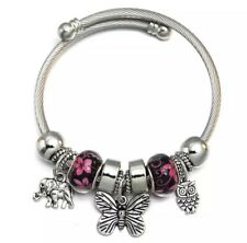 Beautiful Silver Charm Bracelet Bangle Elephant Butterfly Owl Black & Pink