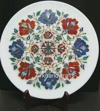 12 Inches White Marble Corporate Plate Inlay Wall plate with Multi Gemstones Art
