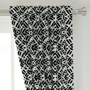 """Boho Black And White Abstract Graphic Tribal 50"""" Wide Curtain Panel by Roostery"""