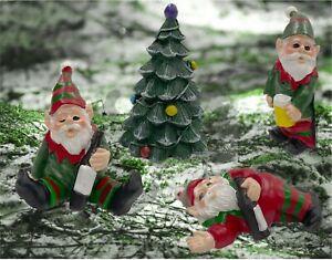 Set of 4 naughty garden Christmas gnomes