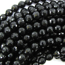 Faceted Black Onyx Round Beads Gemstone 15