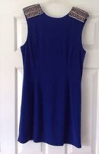 WAREHOUSE Royal Blue Embellished Shift Dress 14 *VGC