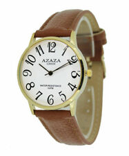 Ladies, Easy Read Watch With White Face Gold Case & Brown Strap by Azaza