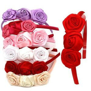 Rose Flower Satin Alice Band Headband Girl Pearl Motif Weddings Hair Bridesmaid