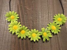 Handmade Green Daisy Flower Halo Headband Rustic Country Wedding Hippie Festival