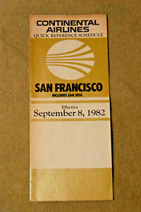 Continental Airlines City Timetable - San Francisco - Sept 8, 1982