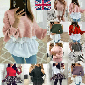 Womens Ruffle Puff Long Sleeve Sweater Shirts Ladies Casual Jumper Tops Blouse