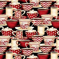 MORNING COFFEE~Wilmington Prints~BY 1/2 YD~RED CREAM CUPS ON BLACK~56054-931