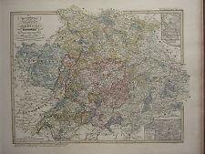 1846 SPRUNER ANTIQUE HISTORICAL MAP FRANCE GERMANY BAVARIA BATTLEFIELD GOLLHEIM