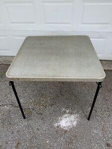 "Vintage Samsonite Green Tweed USA Folding Card Table Metal Frame Hard Top 32"" Sq"