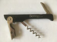 BERINGER POCKET KNIFE BOTTLE OPENER CORKSCREW PLASTIC HANDLE BLACK ITALY