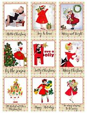 9 Retro Christmas Card Label Hang Tags Scrapbooking Paper Craft (198)