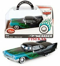 2014 Disney Store Cars Die Cast Display Box Greta Black w/ Blue/Green Flames NEW