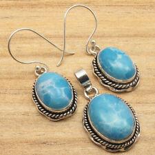 925 Silver Plated Jewelry SET, Beautiful Simulated LARIMAR Earrings & Pendant