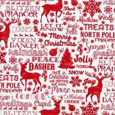 Reindeer and Christmas Words Jolly White Quilt Sew Fabric TIMELESS TREASURES