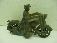 "VINTAGE 6"" CAST IRON MOTORCYCLE WITH DRIVER BLACK CYCLE wheel hat"