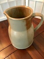 Iron Mountain Stoneware Pottery White Top 56 Oz Pitcher Brown Beige Set