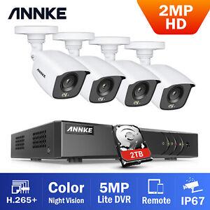 ANNKE 1080p Night Vision Colour CCTV Camera System 8+2CH 5MP Lite DVR Kit 2TB UK