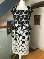 Kaleidoscope Ladies Peplum Dress Size 16 Black White Laced Floral Occasion
