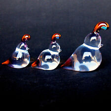Quail Family Figurine Blown Glass Crystal Sculpture