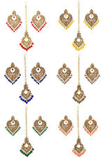 Jwellmart Indian Gold Plated Brown CZ Faux Pearl Wedding Earrings Tikka Set