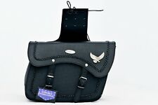 MOTORBIKE SADDLE BAGS 100% LEATHER, BLACK WITH EAGLE , BRAND NEW, PL2654