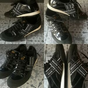 Louis Vuitton Lace up Trainers Patent Leather-Suede Sneakers LV Women Shoes US 8