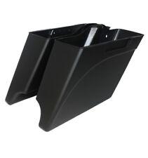 """Matt black 4"""" both cutouts extended bottom saddlebags for Harley touring 93-13"""