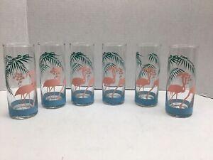 Vtg Pink Flamingo Drink Glass Panache Tom Collins Tea Tumblers Set 6
