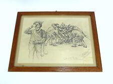 Lithographie im Rahmen signiert datiert Der erste Trunk 1888 C. W. Allers B-280