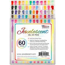 US Art Supply Jewelescent 60 Color Gel Pen Set Classic Glitter Metallic Neon