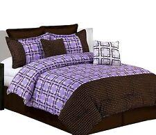 Misaka 8-Piece Pick Stitch Comforter Set, King, Lavender
