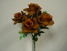 "2 Bushes BROWN Open Rose 7 Artificial Silk Flowers 15"" Bouquet 039BR"