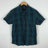 RipCurl Mens Button Up Shirt Size Large Grey Blue Plaid Short Sleeve Collared