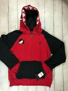 Hurley, Shark hoodie, full zip, Red/black,  New, 153-M