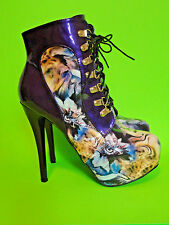 SHOW STORY {Size 41, US 8} Purple Floral Platform Stiletto Boots EXCELLENT!