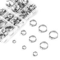 Stainless Steel Single Ear Hose Clamp, 80Pcs 6-23.6mm Crimp Hose Clamp Kit U4Z9
