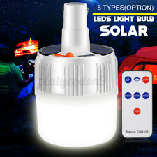 42LED Bulb Solar Lamp Rechargeable Hooking Camp Garden Emergency Light w/ Remote
