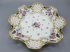 """Andrea by Sadek Gold Accent Floral Ceramic Tray W 10.5"""" H 2.25"""""""