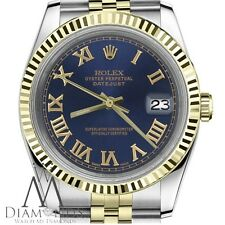Rolex Datejust 36mm 18K Yellow Gold & Steel Blue Roman Numeral Dial Watch