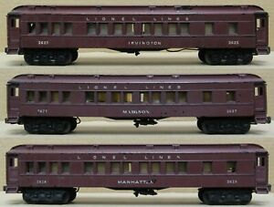 Lionel Postwar 2625/2627/2628 Irvington/Madison/Manhattan Heavyweight 3-PACK