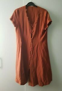 Vintage Dress Orange Button Up 12 (Small Chest) Fault Casual