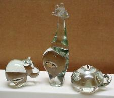 3 NGWENYA Glass Animal Figurines Hippo Hippopotamus Giraffe Turtle Swaziland